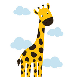 Cartoon giraffe in clouds vector