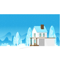 christmas card with house in flat style vector image