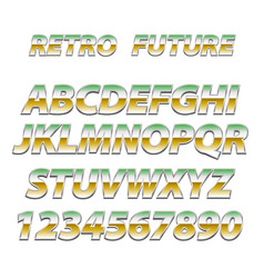 chrome alphabet in 80s retro futurism style vector image