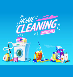 Cleaning service poster home tools banner vector