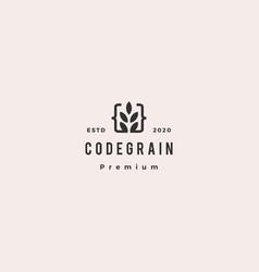 Code grain leaf leaves logo hipster retro vintage vector