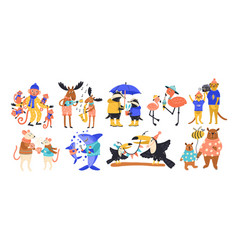 Collection of happy parent and baby wild animals vector