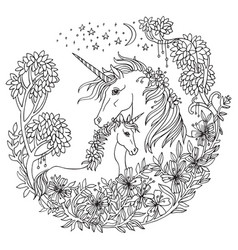 coloring unicorn 8 vector image