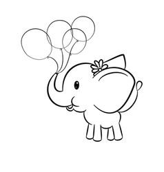 cute baby elephant vector image