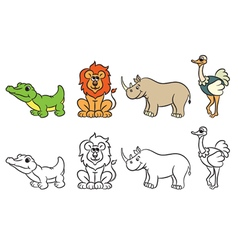 Cute zoo animals collection for Coloring book vector image