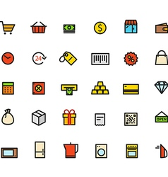 Different line style color icons vector