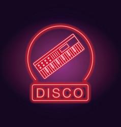 disco emblem neon lights vector image