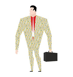 Dude businessman in suit of colors Flower clothing vector