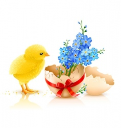 Easter holiday illustration with chicken vector image