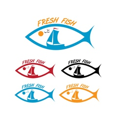 emblems of fresh fish vector image
