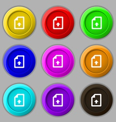 Export Upload file icon sign symbol on nine round vector