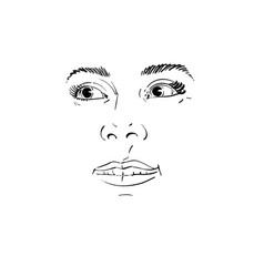 Facial expression hand-drawn of face of a girl vector