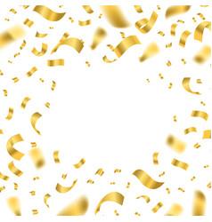 falling shiny golden confetti framework on a white vector image