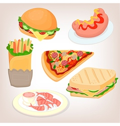 Fast food set cheeseburger sandwich sausage shrimp vector image