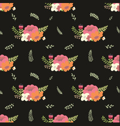 Flower composition on a black background vector