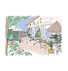 Freehand drawing of backyard patio or terrace vector