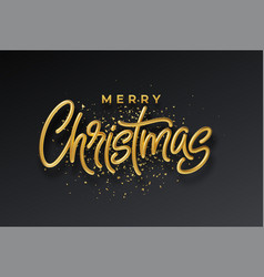 golden shiny realistic 3d inscription merry vector image
