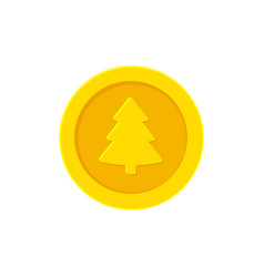Golden yellow coin with a christmas tree vector