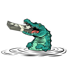 Green crocodile eats money isolate on white vector