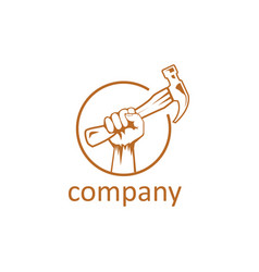 hand and hammer logo design template vector image