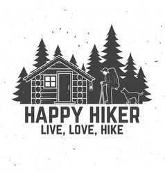 happy hiker live love hike extreme adventure vector image
