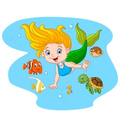 Happy mermaid with sea animal on sea water vector