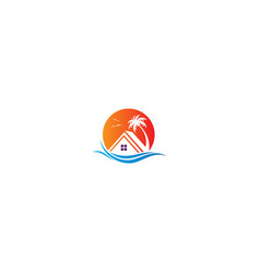house resort beach holiday travel logo vector image
