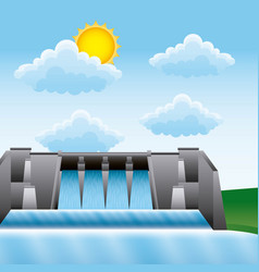 Hydroelectric water power dam generating renewable vector
