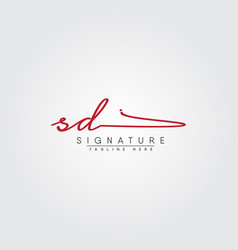 Initial letter sd logo - hand drawn signature vector