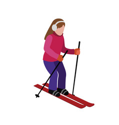 Isometric isolated woman skiing cross country vector