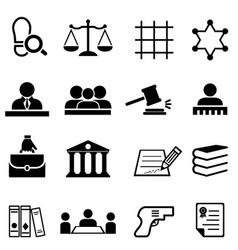 Justice law legal and lawyer icon set vector
