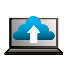 laptop cloud computing upload data vector image