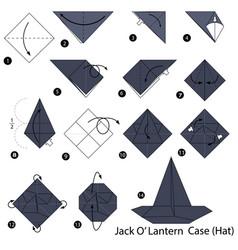 Make origami a jack o lantern case hat vector