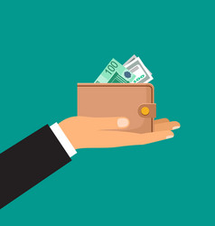 male hand holds a wallet with money vector image