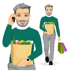 mature man carrying grocery paper bag vector image