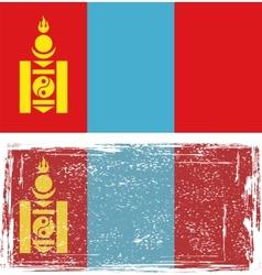 Mongolian grunge flag vector