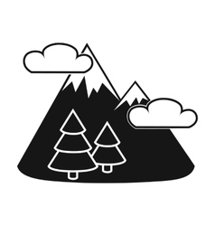Mountains landscape icon in black style isolated vector image