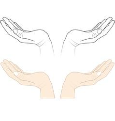 Open hands vector