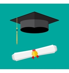 Paper diploma with stamp and graduation cap vector