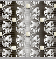pearls jewelry 3d baroque lace seamless pattern vector image