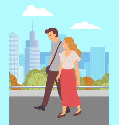 people walk in city park young couple holding vector image