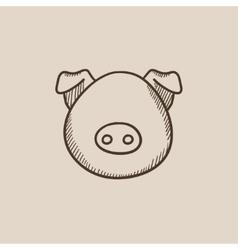 Pig head sketch icon vector