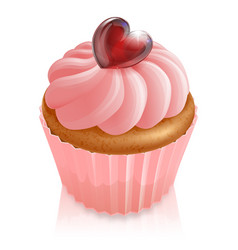 Pink fairy cake cupcake with heart decoration vector