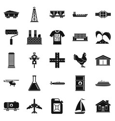 Production icons set simple style vector