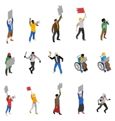 Protest Demonstration People Isometric Icons Set vector