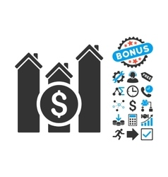 Realty Price Charts Flat Icon with Bonus vector image