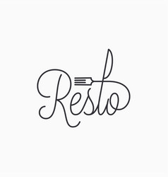 Restorant linear logo resto with fork and knife vector