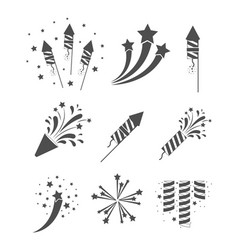 rockets and fireworks bursting set in grayscale vector image