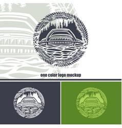 round logo with an suv on a forest background vector image