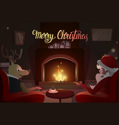 Santa and deer sitting near fireplace merry vector
